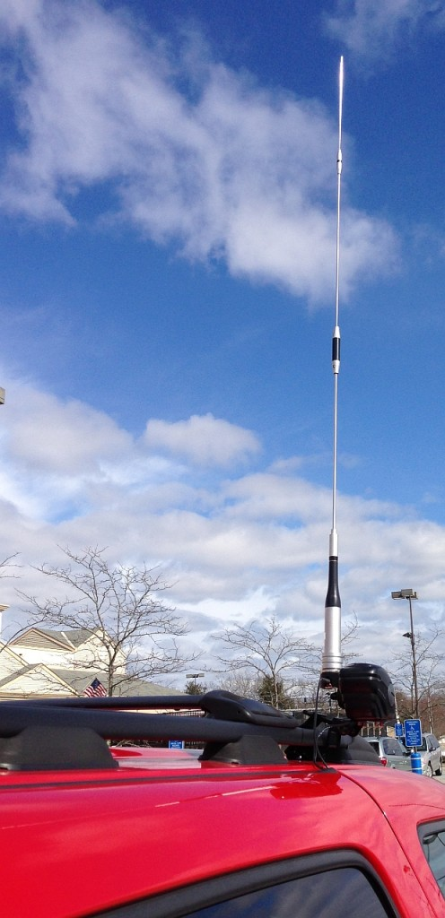 Antenna in operating position (tip is ~10 feet tall)