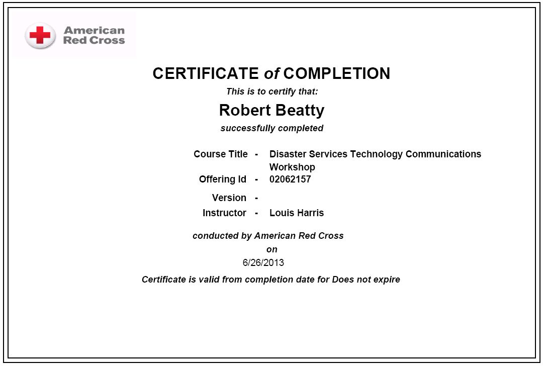 Red Cross Certificate Of Completion Best Design Sertificate 2018