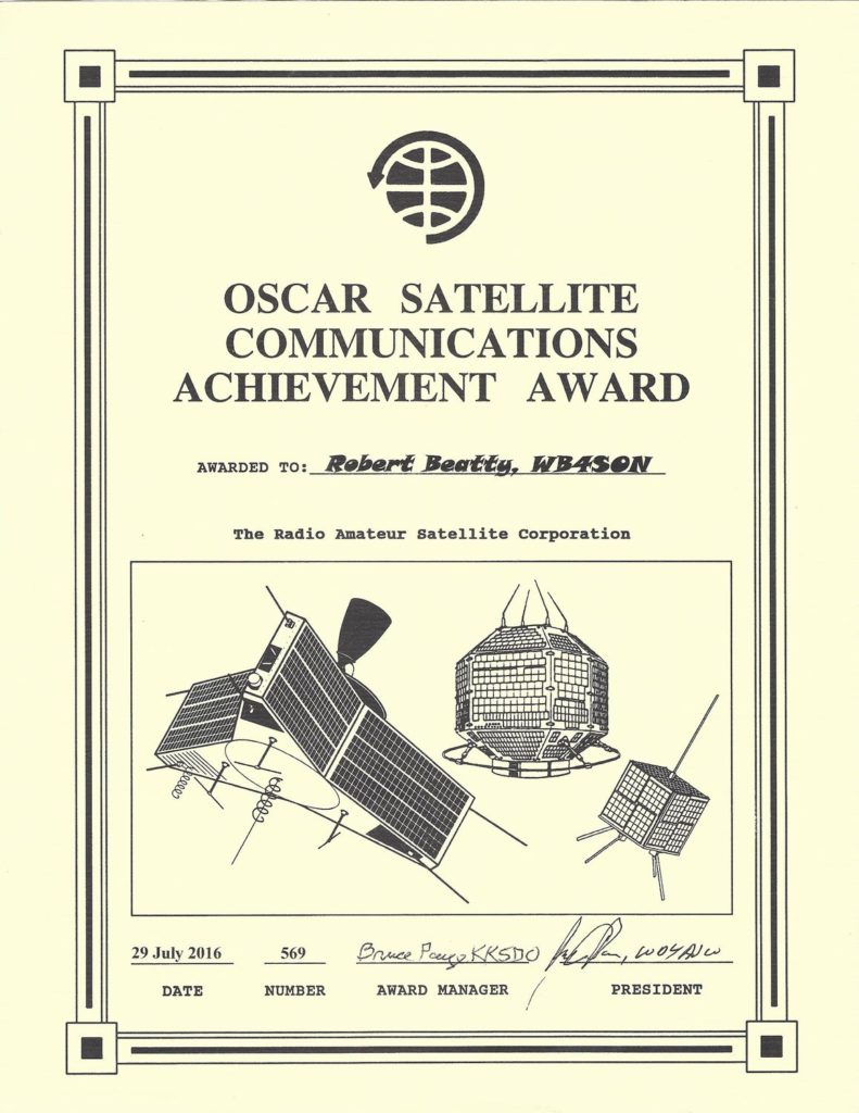 OSCAR Sat Achievement WB4SON